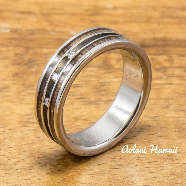 Diamond Titanium Ring with Hawaiian Koa Wood Inlay (6mm width Flat Style)