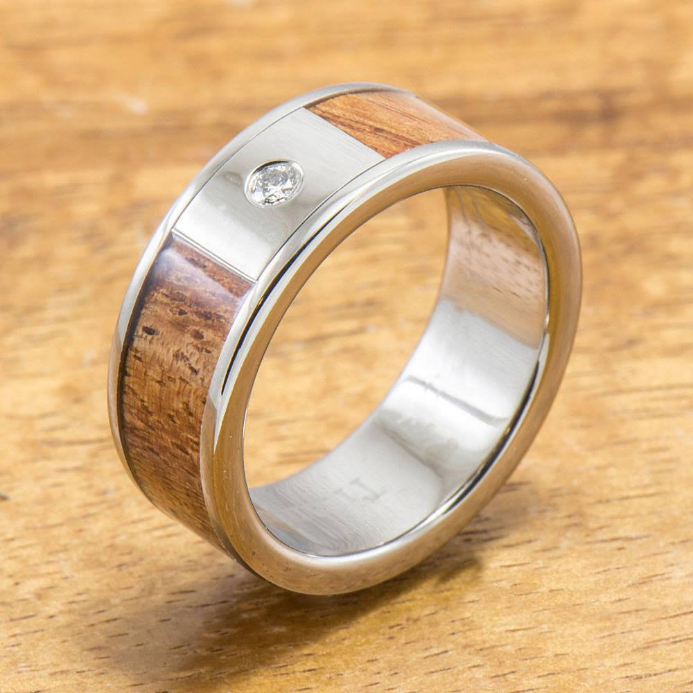Diamond Titanium Ring with Hawaiian Koa Wood Inlay (8 mm width, Flat Style)