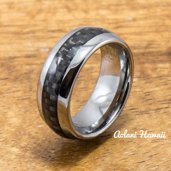 Fiberglass Ring Handmade with Tungsten (6mm width, barrel style) - Aolani Hawaii