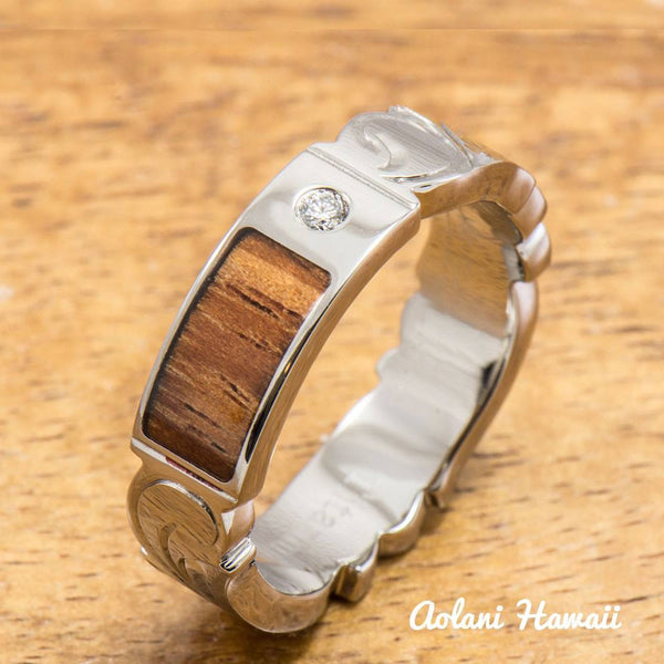 Hand Engraved Titanium Ring with Diamond Setting and Hawaiian Koa Wood Inlay (6mm width, Cutout Edge, Flat Style) - Aolani Hawaii - 1