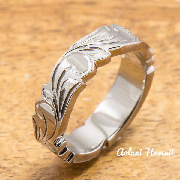 Hand Engraved Titanium Ring with Diamond Setting and Hawaiian Koa Wood Inlay (6mm width, Cutout Edge, Flat Style) - Aolani Hawaii - 2