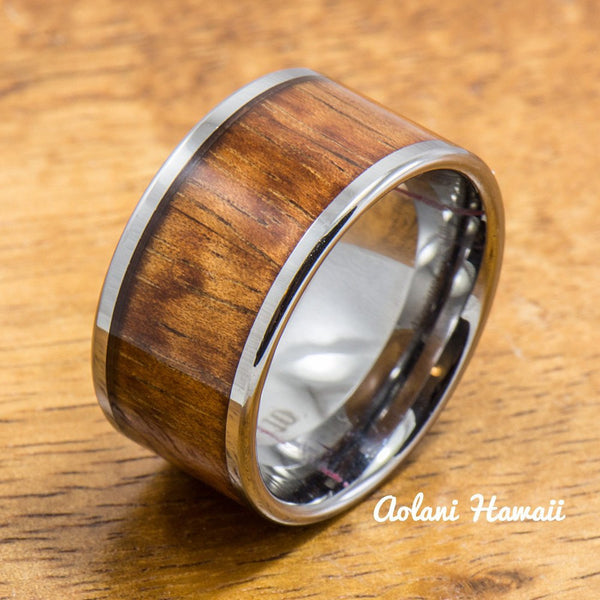 Wedding Band Set of Tungsten Rings with Hawaiian Koa Wood Inlay (4mm & 12mm width, Flat Style) - Aolani Hawaii - 2