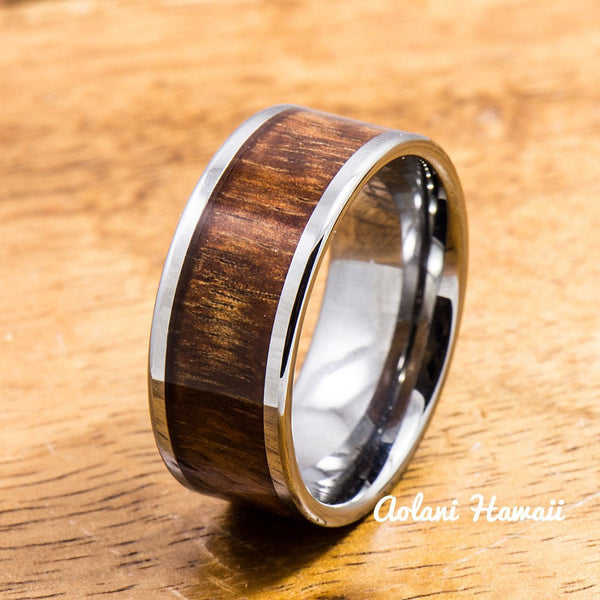 Wedding Band Set of Tungsten Rings with Hawaiian Koa Wood Inlay (8mm & 10mm width, Flat Style) - Aolani Hawaii - 2