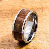 Wedding Band Set of Tungsten Rings with Hawaiian Koa Wood Inlay (10mm & 12mm width, Flat Style) - Aolani Hawaii - 3