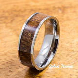 Wedding Band Set of Tungsten Rings with Hawaiian Koa Wood Inlay (8mm & 10mm width, Flat Style) - Aolani Hawaii - 3