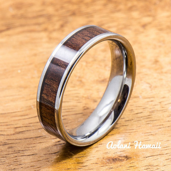 Wedding Band Set of Tungsten Rings with Hawaiian Koa Wood Inlay (6mm & 12mm width, Flat Style) - Aolani Hawaii - 3