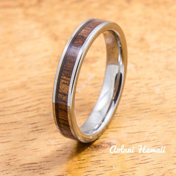 Wedding Band Set of Tungsten Rings with Hawaiian Koa Wood Inlay (4mm & 12mm width, Flat Style) - Aolani Hawaii - 3