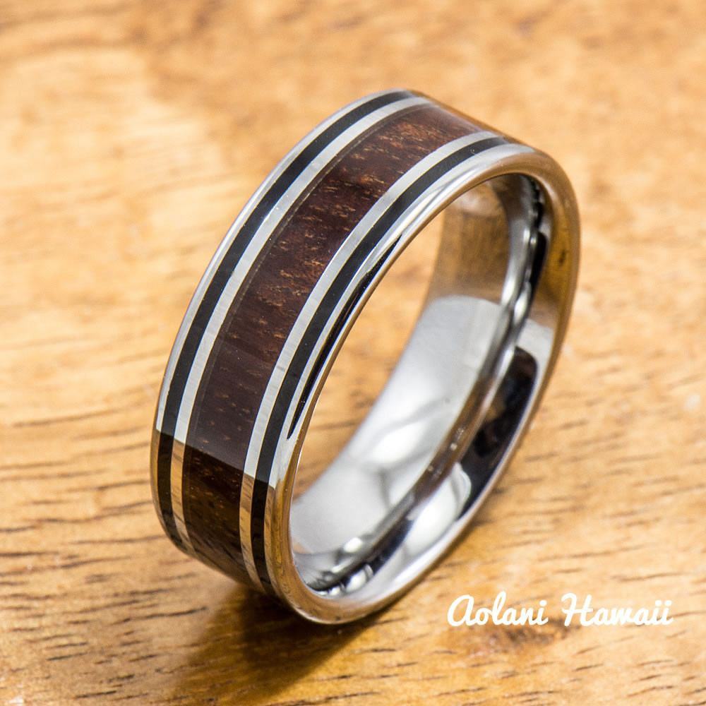 Tungsten wedding ring set with hawaiian koa wood handmade for Hawaiian wedding ring sets
