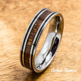 Tungsten Wedding Ring Set with Hawaiian Koa Wood handmade (6mm & 8mm width) - Aolani Hawaii - 3