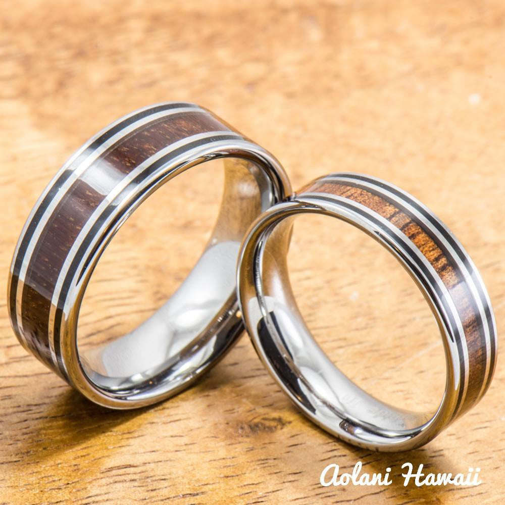 Tungsten Wedding Ring Set with Hawaiian Koa Wood handmade (6mm & 8mm width) - Aolani Hawaii - 1