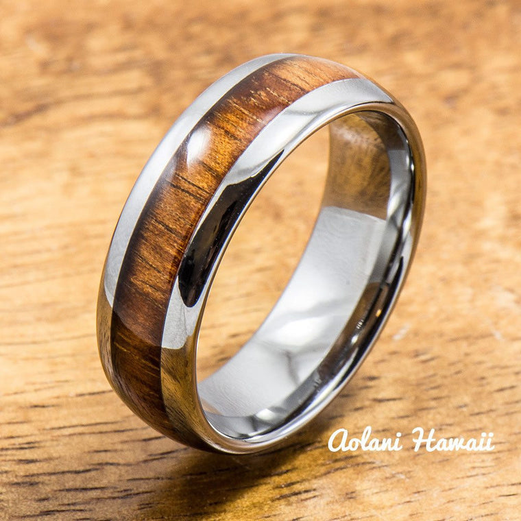 Koa Wood Wedding Rings Available in Tungsten Titanium Sterling