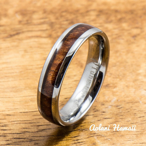 Wedding Band Set of Tungsten Rings with Hawaiian Koa Wood Inlay (4mm & 6mm width, Barrel Style) - Aolani Hawaii - 2