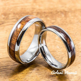 Hawaiian Koa Wood Tungsten Ring Handmade (6mm - 8mm width, Barrel style) - Aolani Hawaii - 3