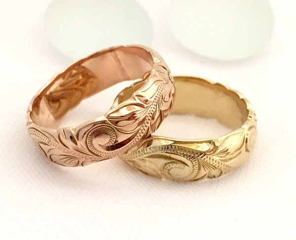 Hawaiian Ring - Hand Engraved 14k Gold Barrel Ring (6mm width, Barrel style) - Aolani Hawaii - 2