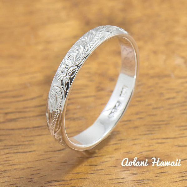 Hawaiian Ring - Hand Engraved Sterling Silver Barrel Ring (3mm-10mm width, Barrel style) - Aolani Hawaii - 1