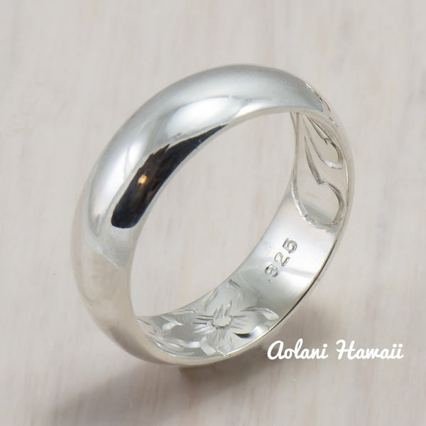 Hawaiian Ring - Hand Engraved Sterling Silver Barrel Ring (4mm - 8mm width, Barrel style) - Aolani Hawaii - 5