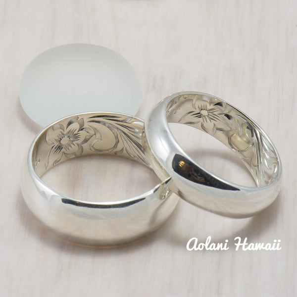 Hawaiian Ring - Hand Engraved Sterling Silver Barrel Ring (4mm - 8mm width, Barrel style) - Aolani Hawaii - 4