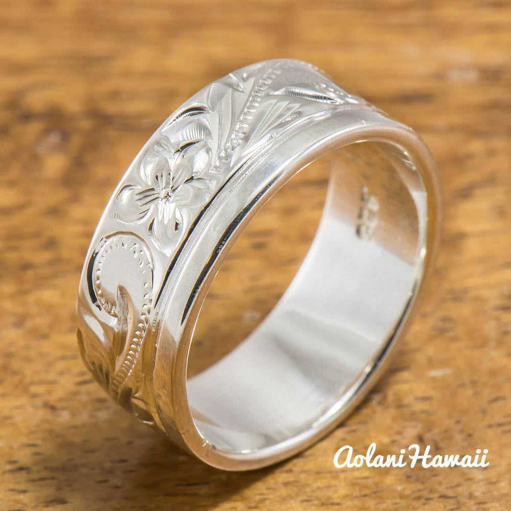 Hawaiian Ring - Hand Engraved Sterling Silver Barrel Ring (6mm-12mm width, Flat style) - Aolani Hawaii - 1