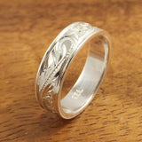 Hawaiian Ring - Hand Engraved Sterling Silver Barrel Ring (6mm-8mm width, Flat style) - Aolani Hawaii - 2