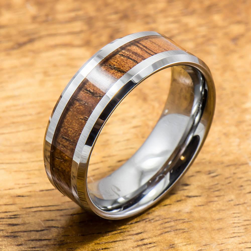 Koa Ring Handmade with Tungsten (5mm - 8mm width, Flat style)