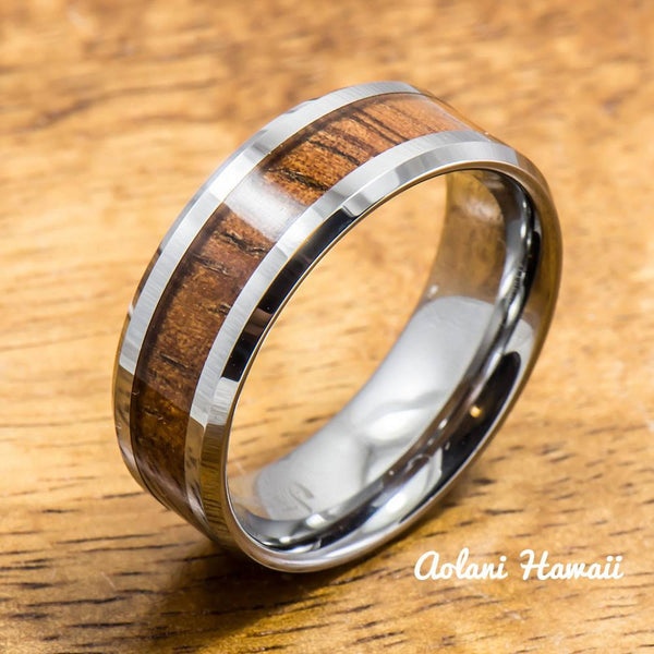 Koa Ring Handmade with Tungsten (5mm - 8mm width, Flat style) - Aolani Hawaii - 1
