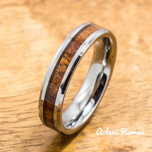 Koa Ring Handmade with Tungsten (5mm - 8mm width, Flat style) - Aolani Hawaii - 2