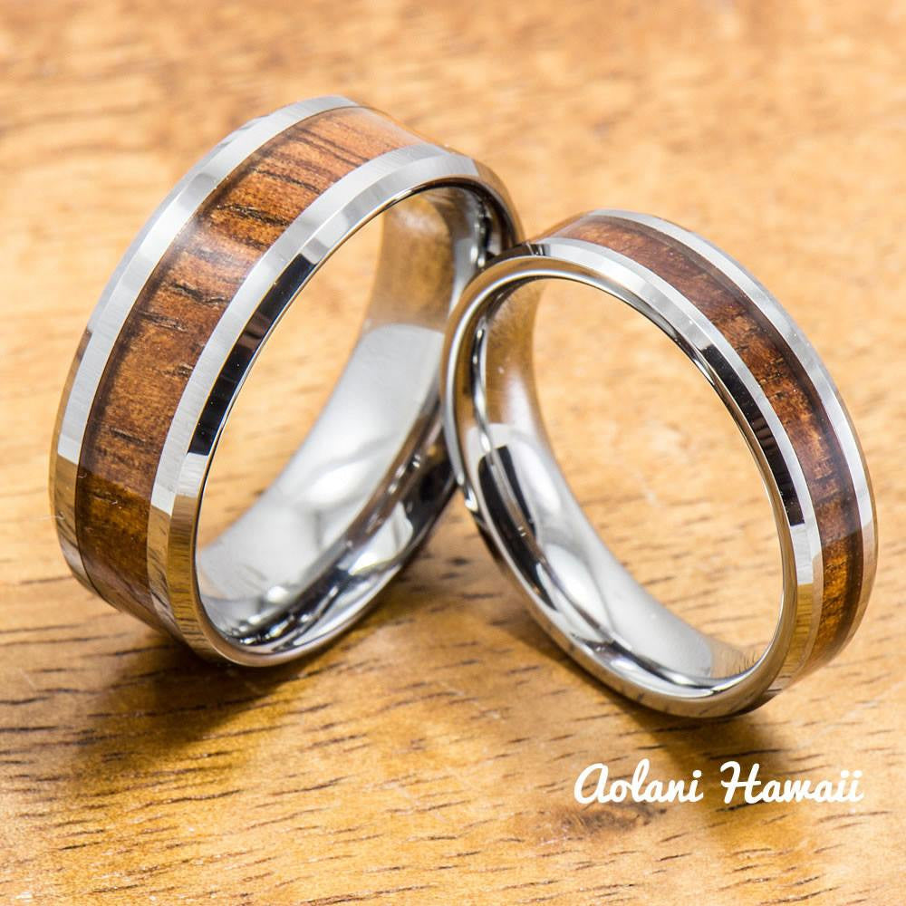 A Pair of Hawaiian Koa Rings Handmade with Tungsten (5mm & 8mm width) - Aolani Hawaii - 1