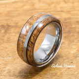 Koa Ring Handmade with Tungsten (8mm width, barrel style) - Aolani Hawaii