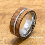Koa Ring Handmade with Tungsten (8mm width, flat style) - Aolani Hawaii