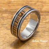 Koa Titanium Ring with Black Stripe Edge (8mm width,  Flat Style) - Aolani Hawaii