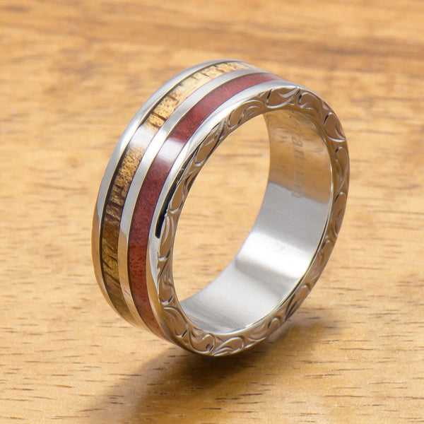 Koa Titanium Ring with Two Tone Hawaiian Koa Wood and Pink Ivory Inlay (7mm width, Flat Style)