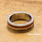 Koa Titanium Ring with Two Tone Hawaiian Koa Wood and Pink Ivory Inlay (7mm width, Flat Style) - Aolani Hawaii - 2