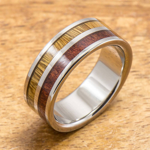 Koa Titanium Ring with Two Tone Hawaiian Koa Wood Inlay (8mm width, Flat Style)