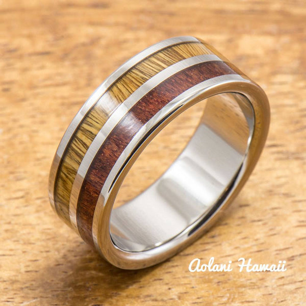 Koa Titanium Ring with Two Tone Hawaiian Koa Wood Inlay (8mm width, Flat Style) - Aolani Hawaii