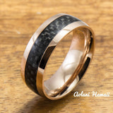 Pink Gold Colored Stainless Steel Ring with Carbon Fiber Inlay (6mm - 8mm width, Barrel Style) - Aolani Hawaii - 1