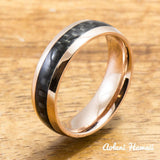 Pink Gold Colored Stainless Steel Ring with Carbon Fiber Inlay (6mm - 8mm width, Barrel Style) - Aolani Hawaii - 2