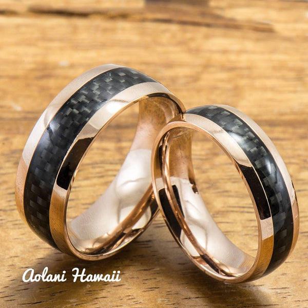 Pink Gold Colored Stainless Steel Ring with Carbon Fiber Inlay (6mm - 8mm width, Barrel Style) - Aolani Hawaii - 3
