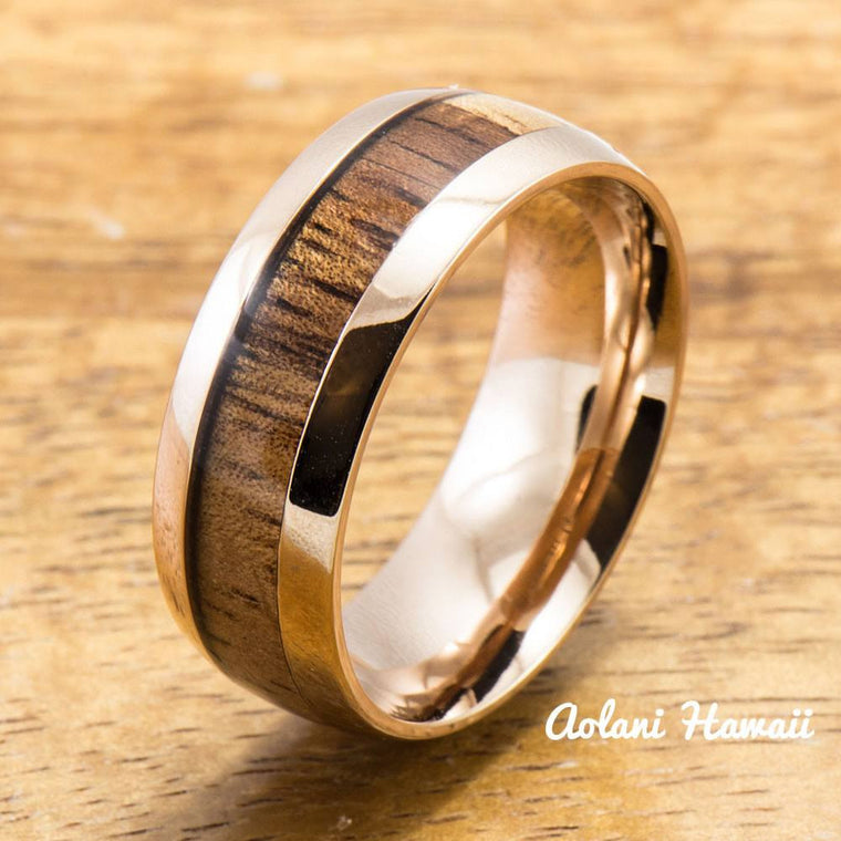 Pink Gold Colored Stainless Steel Ring with with Koa Wood Inlay (6mm - 8mm width, Barrel Style)