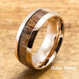 Pink Wedding Ring Set Stainless Steel Rings Set with Hawaiian Koa Wood (6mm & 8mm width, Barrel Style) - Aolani Hawaii - 2