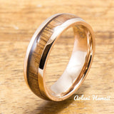 Pink Gold Colored Stainless Steel Ring with with Koa Wood Inlay (6mm - 8mm width, Barrel Style) - Aolani Hawaii - 2