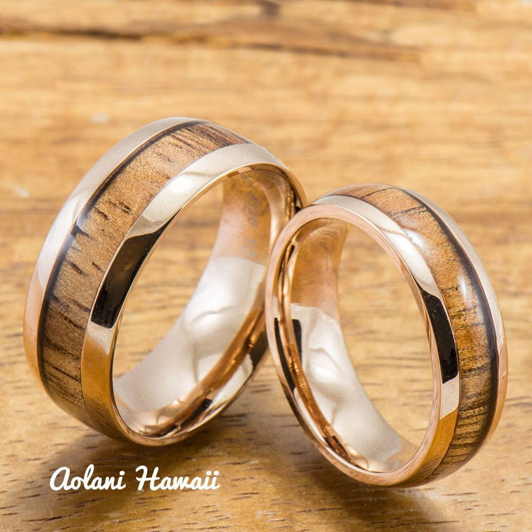 Pink Wedding Ring Set Stainless Steel Rings Set with Hawaiian Koa Wood (6mm & 8mm width, Barrel Style)