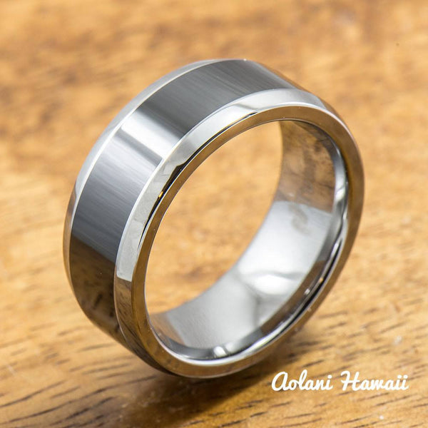 Polished Tungsten Carbide Ring with Black Ceramic Inlay (8mm width, Flat Style) - Aolani Hawaii