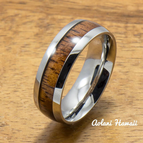 Stainless Ring with Hawaiian Koa Wood (6mm - 8mm width, Barrel Style)