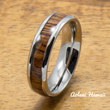 A Set of Stainless Steel Rings with Hawaiian Koa Wood (6mm & 8mm width) - Aolani Hawaii - 3