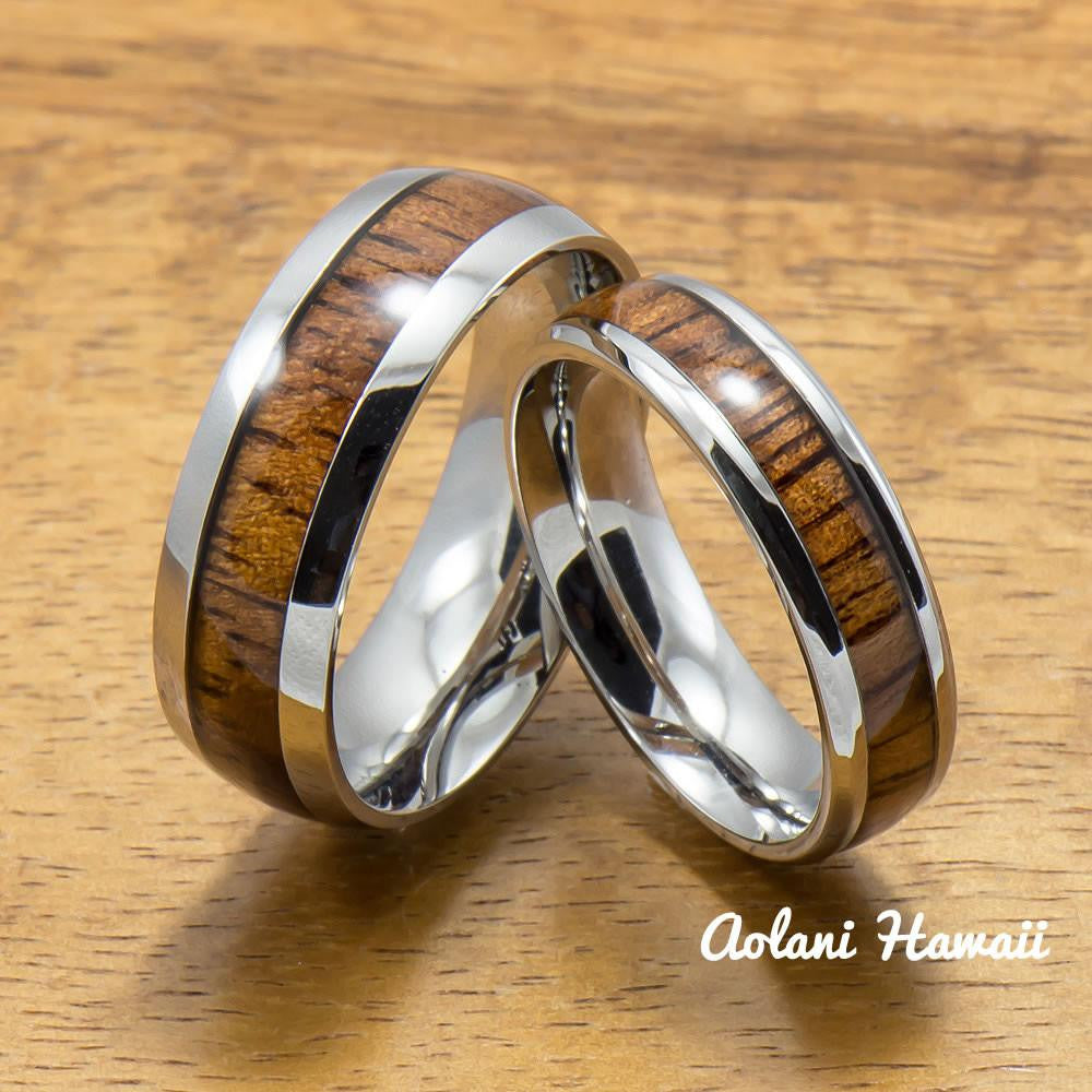 A Set of Stainless Steel Rings with Hawaiian Koa Wood (6mm & 8mm width) - Aolani Hawaii - 1