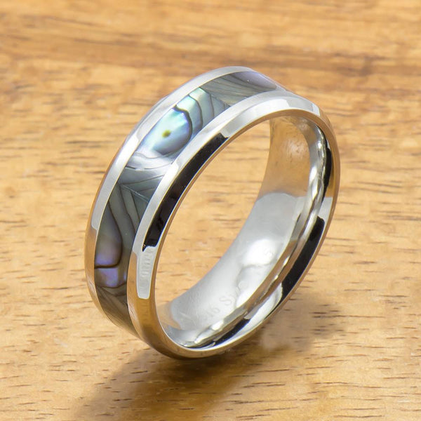 Stainless Steel Ring with Abalone Inlay (6mm - 8mm width, Flat style)