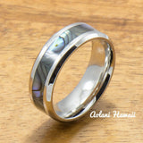 Stainless Wedding Ring Set Steel Rings with Abalone Inlay (6mm & 8mm width, Flat Style) - Aolani Hawaii - 2