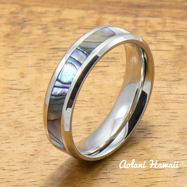 Stainless Wedding Ring Set Steel Rings with Abalone Inlay (6mm & 8mm width, Flat Style) - Aolani Hawaii - 3