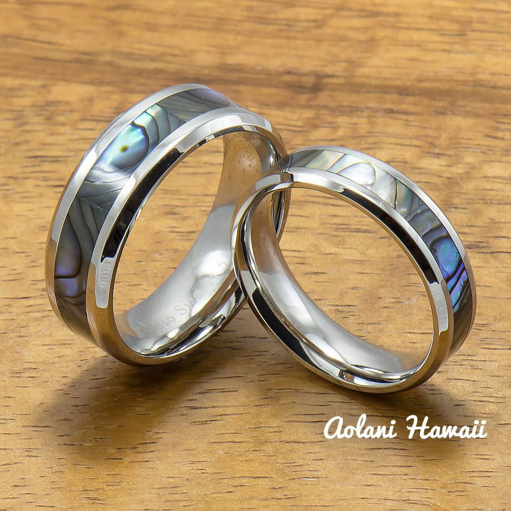 Stainless Wedding Ring Set Steel Rings with Abalone Inlay (6mm & 8mm width, Flat Style) - Aolani Hawaii - 1