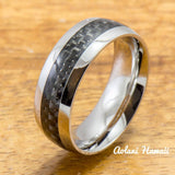 Stainless Steel Ring with Carbon Fiber Inlay (8mm width, Barrel Style) - Aolani Hawaii